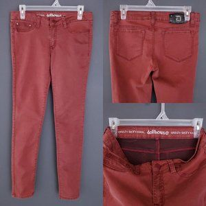 DOLLHOUSE Skinny Jeans Stretch Low Rise Burnt Red